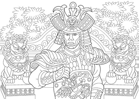 Ilustración de Coloring page of japanese samurai with lion statues on the background. Freehand sketch drawing for adult antistress coloring book in zentangle style. - Imagen libre de derechos