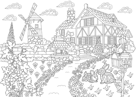 Ilustración de Coloring page of rural landscape. Farm house, windmill, water well, mail box, bunnies, woodpecker bird, grape vines. Freehand sketch drawing for adult antistress coloring book in zentangle style. - Imagen libre de derechos