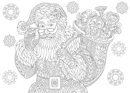 Illustration pour Coloring page of Santa Claus with full bag of holiday gifts. Christmas vintage snowflakes. Freehand sketch drawing for 2018 Happy New Year greeting card or adult antistress coloring book. - image libre de droit