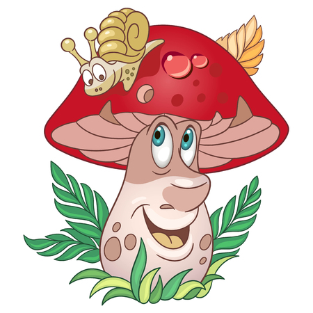 Illustration for Cartoon Mushroom character. Porcini or Brown Cap boletus. Happy Vegetable symbol. Food spice icon. Design element for children's coloring book, kids t-shirt print, logo, labels, patches or stickers. - Royalty Free Image