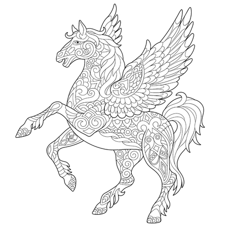 Ilustración de Pegasus - Greek mythological winged horse flying. Coloring page. Coloring book. Anti-stress freehand sketch drawing with doodle   elements. - Imagen libre de derechos
