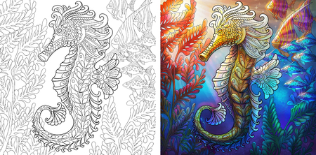 Illustration pour Coloring page. Seahorse and shoal of fishes. Ocean underwater background. Colorless and color samples for adult antistress coloring book cover. - image libre de droit