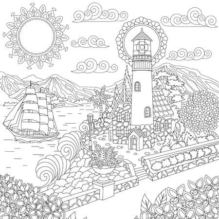 Illustration pour Lighthouse on sea shore and sailing ship. Coloring Page. Colouring picture. Adult Coloring Book idea. Freehand sketch drawing. Vector illustration. - image libre de droit