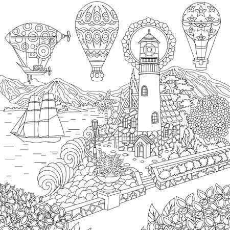 Ilustración de Lighthouse. Sailing ship. Dirigible. Hot air balloons. Coloring page. Colouring picture. Coloring book. Freehand sketch drawing. Vector illustration. - Imagen libre de derechos