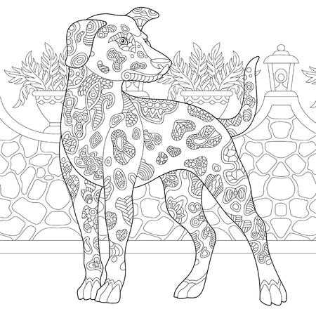Illustration pour Dalmatian Dog. Coloring Page. Colouring picture. Adult Coloring Book idea. Freehand sketch drawing. Vector illustration. - image libre de droit