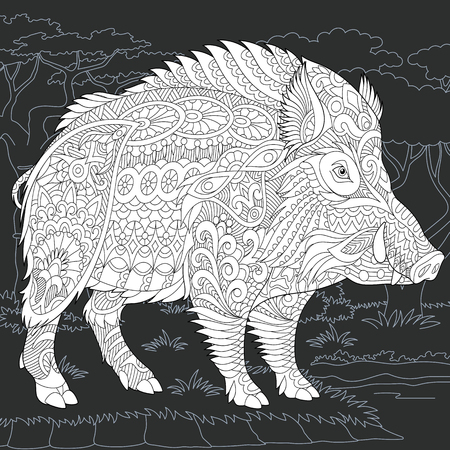 Wild Boar Drawn In Line Art Style 2019 Chinese New Year Symbol