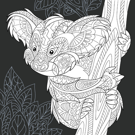 Illustration pour Koala bear drawn in line art style. Jungle background in black and white colors on chalkboard. Coloring book. Coloring page. - image libre de droit