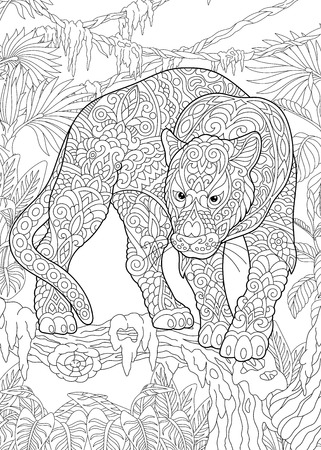 Illustration pour Coloring Page. Coloring Book. Colouring picture with Black Panther. Antistress freehand sketch drawing with doodle - image libre de droit