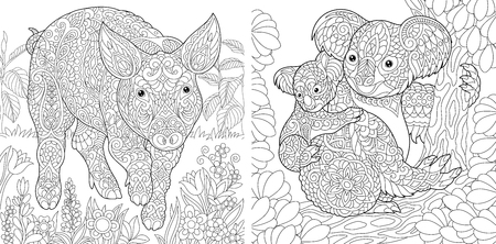 Coloring Pages. Coloring Book for adults. Cute Pig - 2019 ...