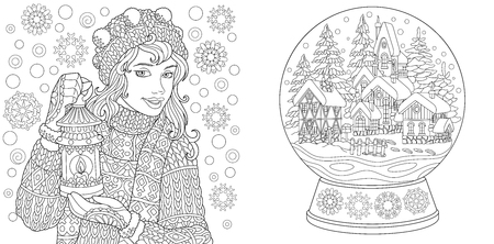 Ilustración de Coloring Pages. Coloring Book for adults. Colouring pictures with winter girl and crystal snow ball. Antistress freehand sketch drawing with doodle and zentangle elements. - Imagen libre de derechos