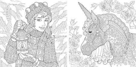 Illustration pour Fantasy Coloring Pages. Coloring Book for adults. Colouring pictures with winter girl and magic unicorn. Antistress freehand sketch drawing with doodle and zentangle elements. - image libre de droit
