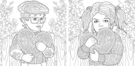 Illustration pour Love. Coloring Pages. Coloring Book for adults. Colouring pictures with lovely kids holding valentines day hearts. - image libre de droit