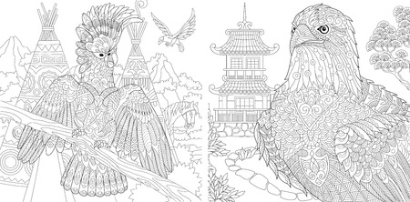 Illustration pour Coloring Pages. Coloring Book for adults. Colouring pictures with cockatoo and eagle. Antistress freehand sketch drawing with doodle and zentangle elements. - image libre de droit
