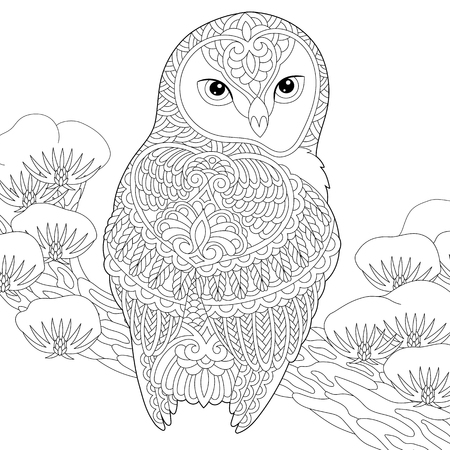 Illustration pour Coloring page. Coloring book. Anti stress colouring picture with owl. Freehand sketch drawing with doodle elements. - image libre de droit
