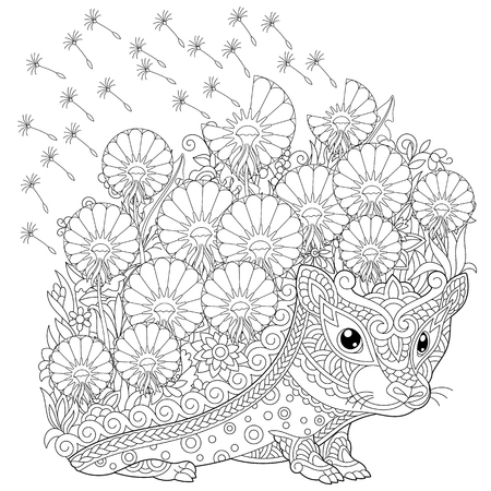 Ilustración de coloring page. Colouring picture with Hedgehog and spring flowers. Freehand sketch drawing for adult coloring book. - Imagen libre de derechos