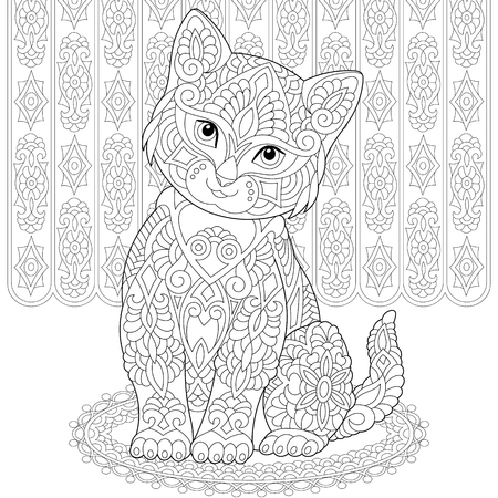 Illustration pour Coloring page. Coloring book. Anti stress colouring picture with cat. Freehand sketch drawing with doodle and elements. - image libre de droit