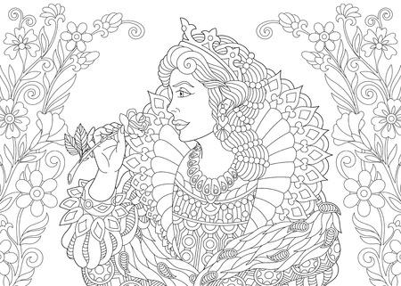 Illustration pour Coloring page. Coloring book. Anti stress coloring picture with queen. - image libre de droit