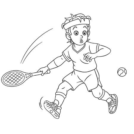 Illustration pour Colouring page. Cute cartoon tennis player. Childish design for kids coloring book.  - image libre de droit