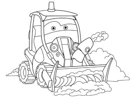 Illustration pour Coloring page. Coloring picture of cartoon snow plow truck. Childish design for kids activity colouring book about transport. - image libre de droit