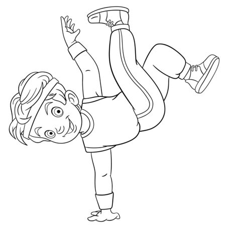 Coloring page. Coloring picture of cartoon b-boy dancing, young break dancer. Childish design for kids activity colouring book about people professions.