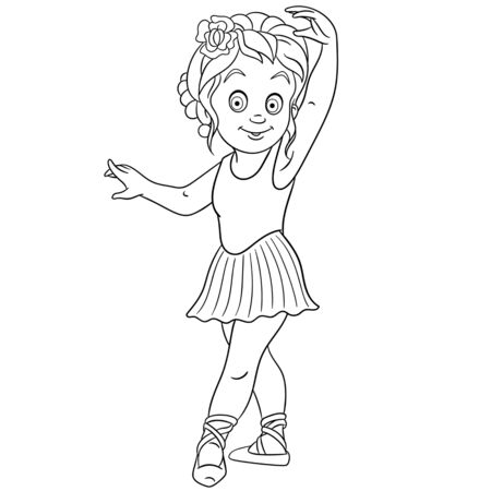 Illustration pour Coloring page. Coloring picture of cartoon ballerina, young ballet dancer. Childish design for kids activity colouring book about people professions. - image libre de droit
