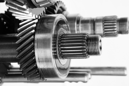 mechanical gear on isolated white background