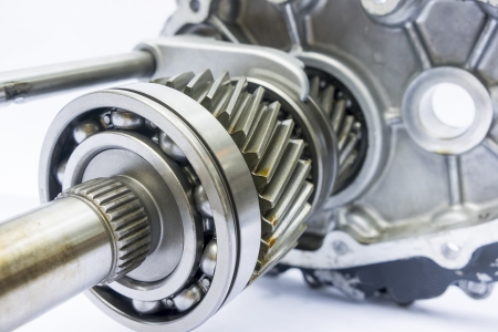 part of engine gearbox on isolated background