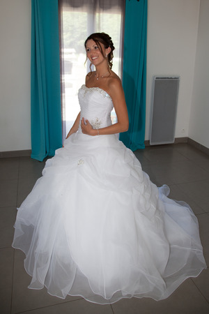 Happy caucasian bride