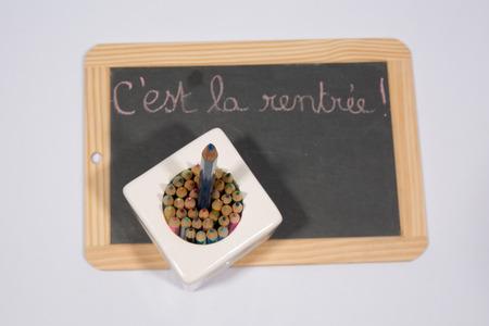 Back to School written in French on blackboard