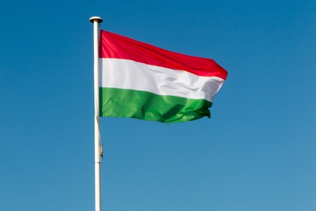 Hungarian flag flying on clear sky background.