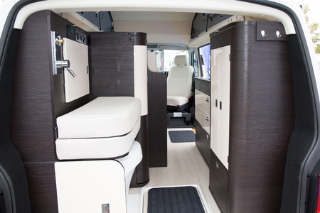 Photo pour Vehicle interior view of a motorhome Modern Area Inside the Camper. Traveling with Style. - image libre de droit