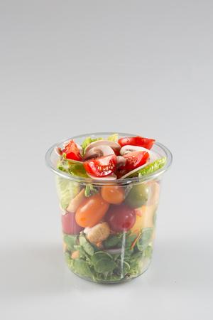 Photo pour prepared salad in plastic takeaway containers - image libre de droit