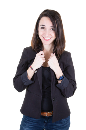 Photo pour Young succesfull businesswoman in jacket on isolated white background - image libre de droit