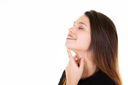 Photo pour Young female touches her neck profile woman portrait white background - image libre de droit