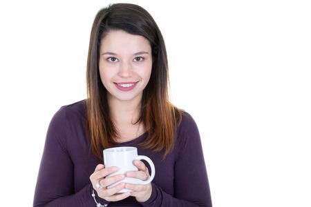 Photo pour Pretty young woman with herbal tea in mug - image libre de droit