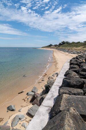 Beach and dike on the island of Noirmoutier in Pays de la Loire Vendee France