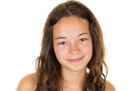 Photo pour Portrait smiling young girl teen brunette curly - image libre de droit
