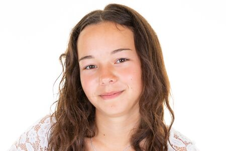 Photo for Portrait of young beautiful girl smiling looking at camera over white background - Royalty Free Image