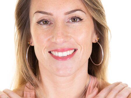 Photo pour Close up of laughing woman portrait with long blond hair - image libre de droit