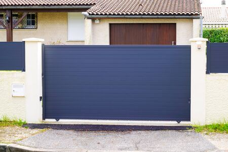 Photo for Aluminum gate portal of suburb house - Royalty Free Image