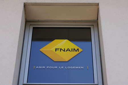 Bordeaux, Aquitaine / France - 07 07 2020: fnaim logo text sign on building office of real estate shop agency