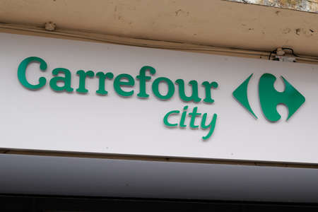 Bordeaux, Aquitaine / France - 08 04 2020: Carrefour city logo and green text sign for store entrance shop of french town center supermarket