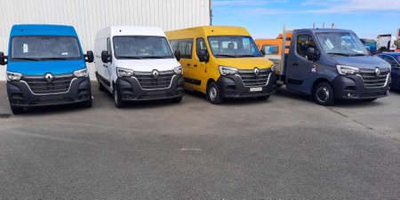 Photo for Bordeaux, Aquitaine / France - 09 25 2020: renault master van industrial commercial vehicles parked in trucks dealership vans vehicles - Royalty Free Image