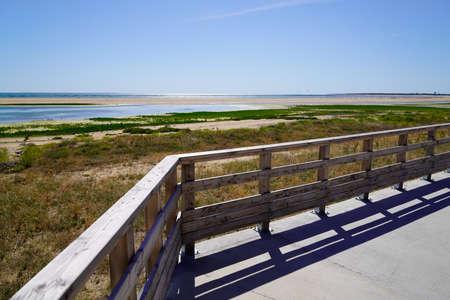 wooden access to sand beach atlantic ocean in Jard sur Mer in vendee france