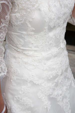 Photo pour Close-up of behind rear bride white dress back in corset - image libre de droit