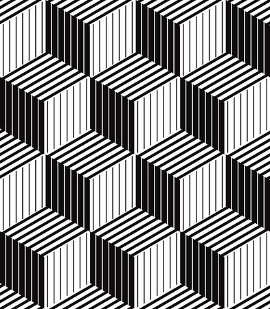 Ilustración de 3d boxes geometric optical seamless pattern, black and white vector background. - Imagen libre de derechos