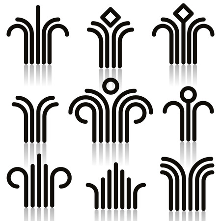Abstract symbols set, single color, vector.のイラスト素材
