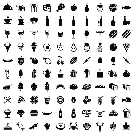 100 food and drink icons set, black and white vectors collection.のイラスト素材