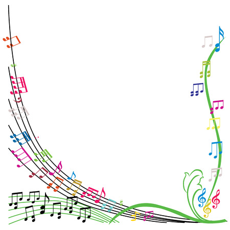 Music notes composition, stylish musical theme background, vector illustration.