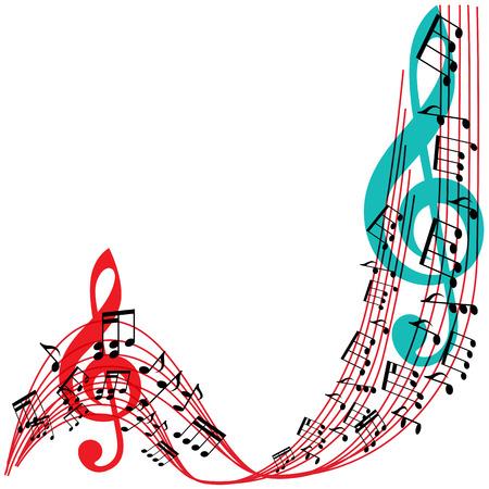 Music notes background, stylish musical theme frame, vector illustration.